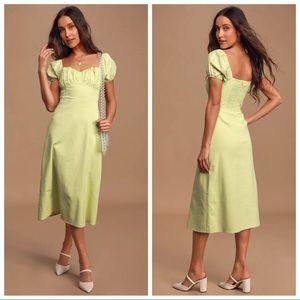 Lulu's Sage Green Puff Sleeve Smocked Midi Dress